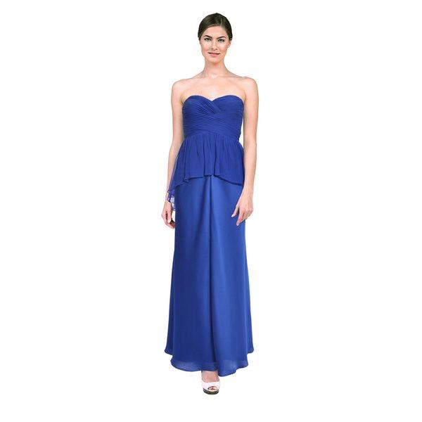 Aidan Mattox Women's Neptune Blue Strapless Sweetheart Dress