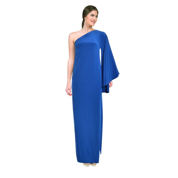 Nicole Miller Women's Blueberry One-shoulder Kimono Evening Gown
