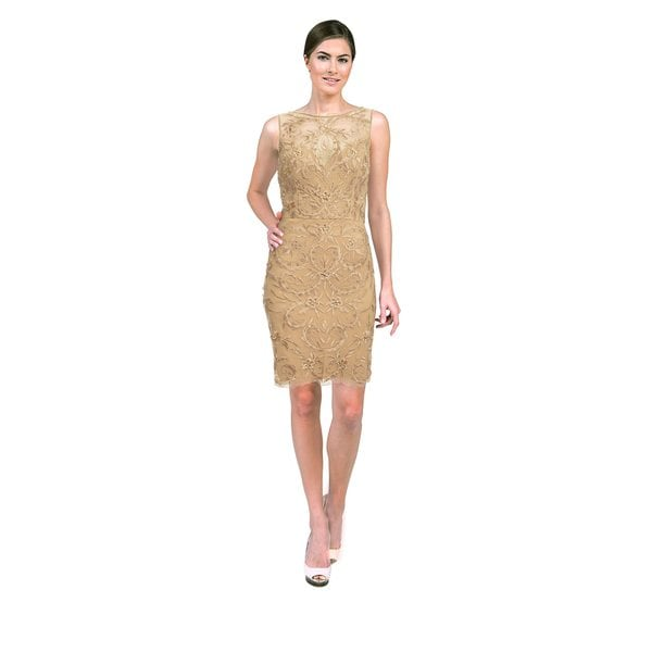 Sue Wong Women's Beige Floral Beaded High-neck Fitted Dress