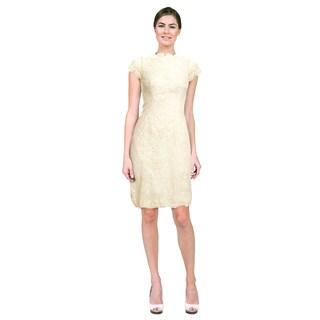 ML Monique Lhuillier Women's Ivory Lace Corset Dress
