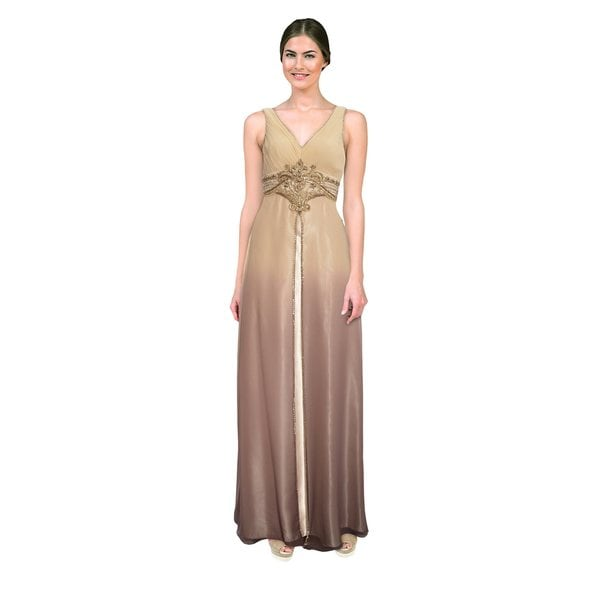 Sue Wong Women's Beige Ombre Chiffon Overlay Gown