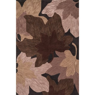 Hand-tufted Eve Brown/ Beige Autumn Leaves Rug (5'0 x 7'6)