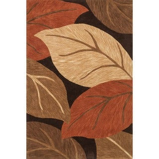 Hand-tufted Eve Brown/ Rust Harvest Leaves Rug (5'0 x 7'6)