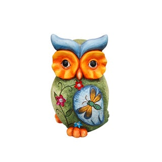 Owl Statue with Butterfly and Floral Detail