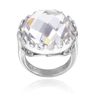 Icz Stonez Sterling Silver 19 3/4ct TGW Cubic Zirconia Briolette Ring