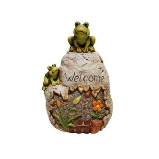Welcome Sign Rock with Frog Garden Statue