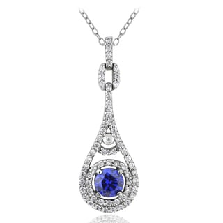 Icz Stonez Sterling Silver 1 1/2ct TGW Purple and Clear Cubic Zirconia Teardrop Necklace