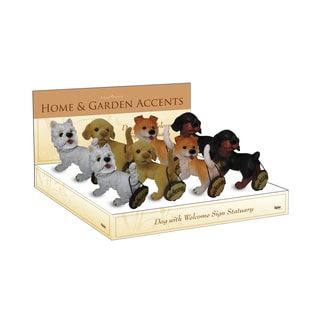 Four (4) Dogs with Welcome Sign Garden Statue (Set of 8)