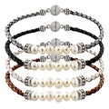 Glitzy Rocks Silvertone Pearl And Leather Bracelet