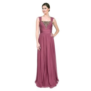 Badgley Mischka Women's Beaded Silk Orchid Formal Evening Dress