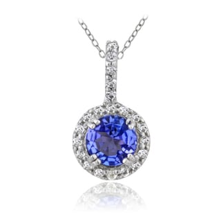 Glitzy Rocks Sterling Silver Tanzanite and White Topaz Solitaire Necklace