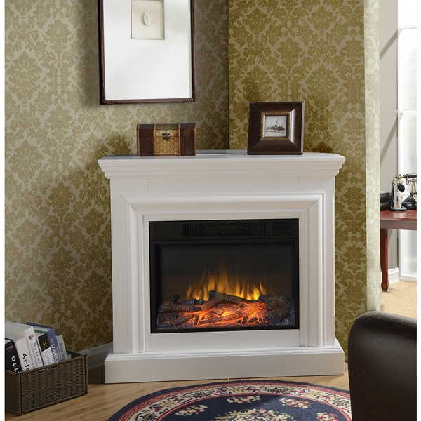 wide electric fireplace mantel in white 16691522