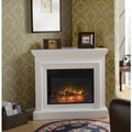 Wide Electric Fireplace Mantel in White
