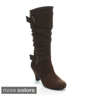 Forever Women's 'Maggie-18' Kitty Heel Slouchy Knee-high Boots