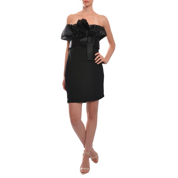 Marchesa Notte Women's Black Silk Pleated Fan Dress