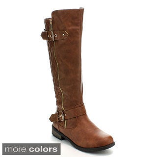 Forever Women's 'Mango-21' Quilt Knee-high Riding Boots