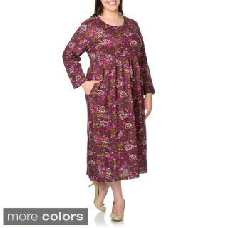 La Cera Women's Plus Size Floral Print Dress