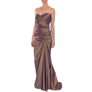 Tadashi Women's Bronze Strapless Ruched Rhinestone Gown Dress