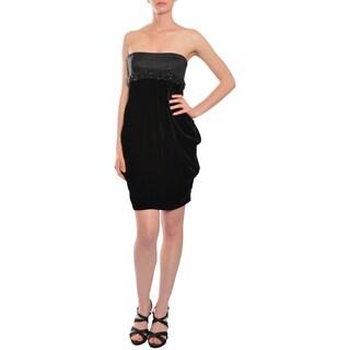 Escada Women's Black Silk Strapless Beaded Cocktail Dress
