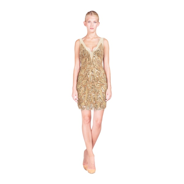Basix Black Label Women's Gold Sequined Sleeveless Cocktail Dress