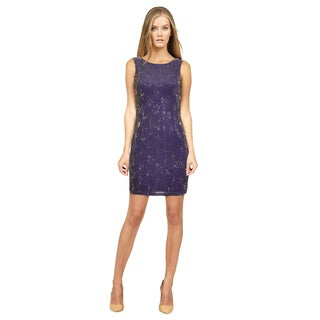 Alice and Olivia Women's Purple Silk Beaded Cocktail Dress