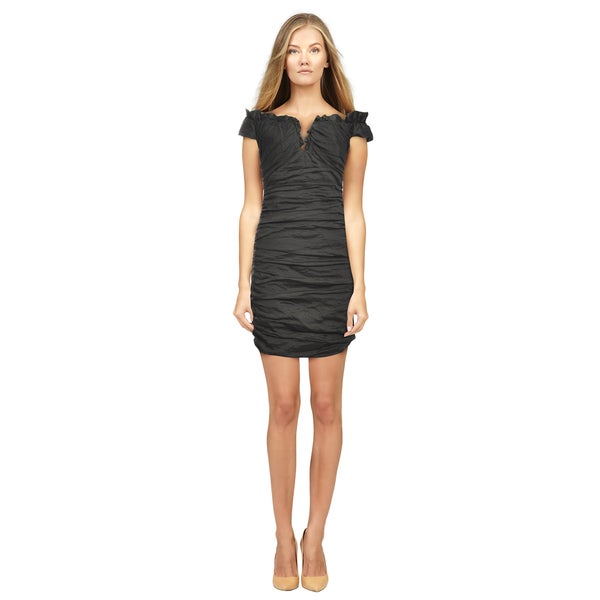 BCBG Maxazria Women's Black Off-shoulder Ruched Dress