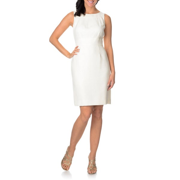 Tahari Women's Ivory Sleeveless Sheath Dress