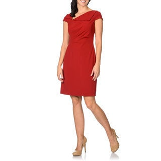 Tahari Women's Red Asymmetrical Lapel Dress