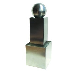 Yosemite Home Decor Stainless Steel Rectangle Pillar and Sphere