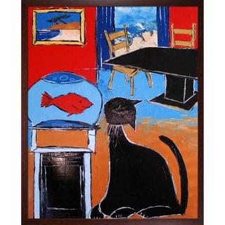 Atelier De Jiel 'Black Cat with Goldfish' Framed Fine Art Print