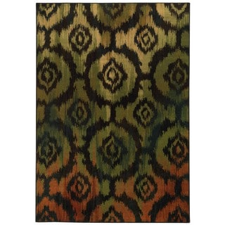 Ikat Black/ Green (6'7 x 9'6)