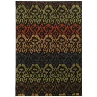 Tribal Ikat Black/ Multi (6'7 x 9'6)