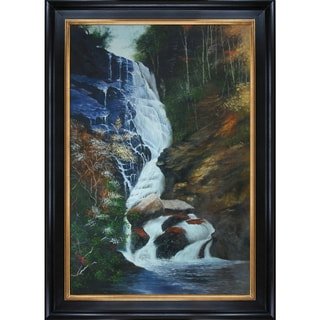Jerry Sauls 'Carolina Falls' Hand-painted Framed Canvas Art