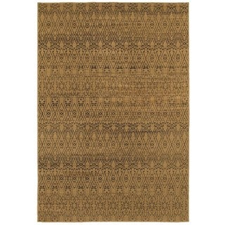 Geometric Ikat Tan/ Black (5'3 x 7'6)
