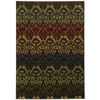Tribal Ikat Black/ Multi (5'3 x 7'6)