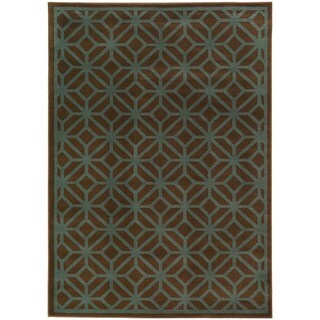 Geometric Brown/ Blue Diamond Lattice Rug (7'10 x 10')