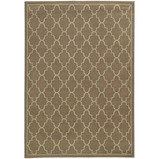 Lattice Grey/ Beige Rug (6'7 x 9'6)