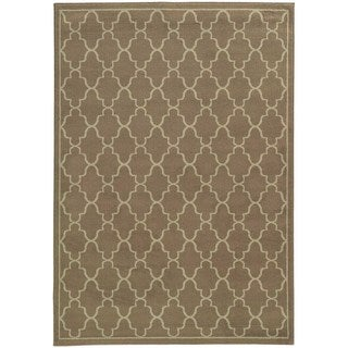 Lattice Grey/ Beige Rug (5'3 x 7'3)