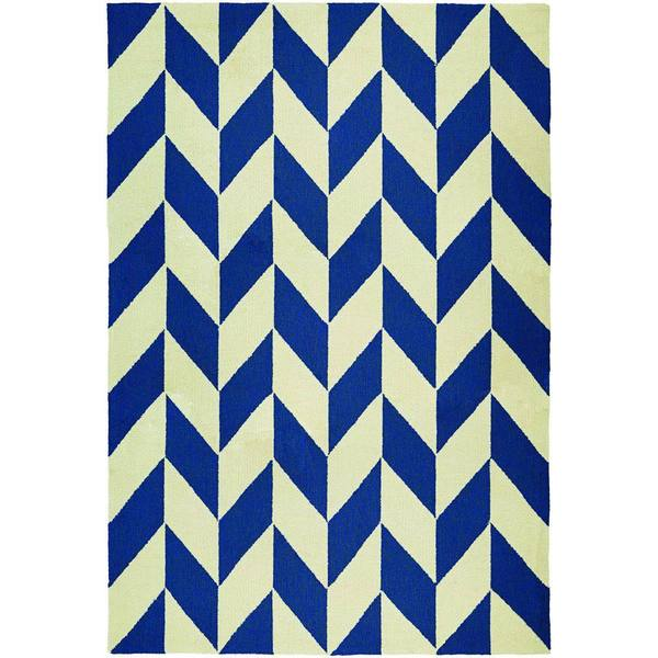 Couristan Covington Herringbone Navy/ Ivory Rug (5'6 x 8')