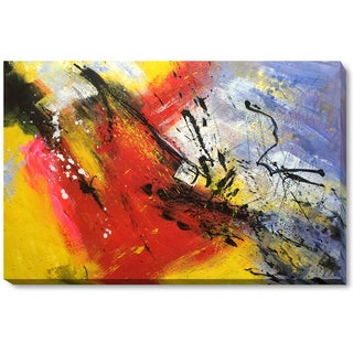 Pol Ledent 'Abstract 96319012' Hand-painted Framed Canvas Art