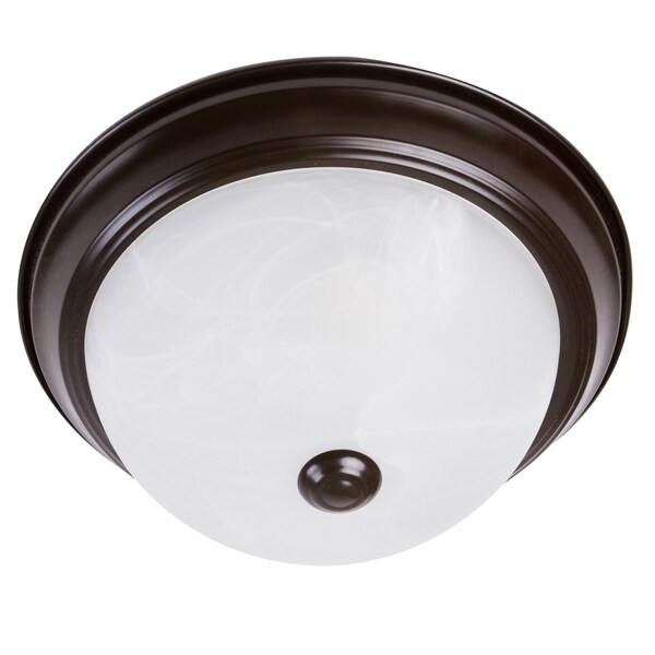 2-light Flush Mount Ceiling Fixture with Marble Glass Shades