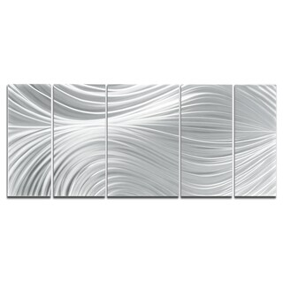 Glamorous Original 'Passing Currents' Elegant Silver Metallic Art Decor