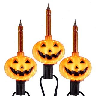 Kurt Adler UL 7-light C7 Pumpkin Bubble Light Set
