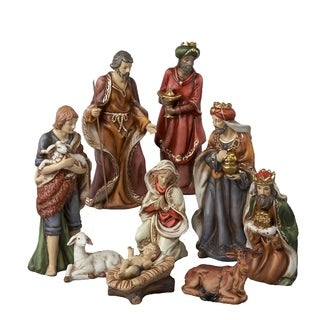 Kurt Adler 9-inch 9-piece Porcelain Nativity Figures Tablepiece Set