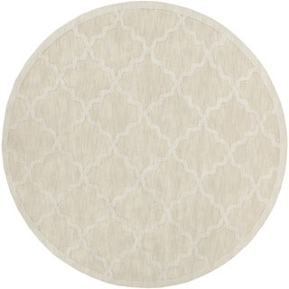 Artistic Weavers Hand-woven Amy Tone-on-Tone Lattice Wool Area Rug-(93 inch round)