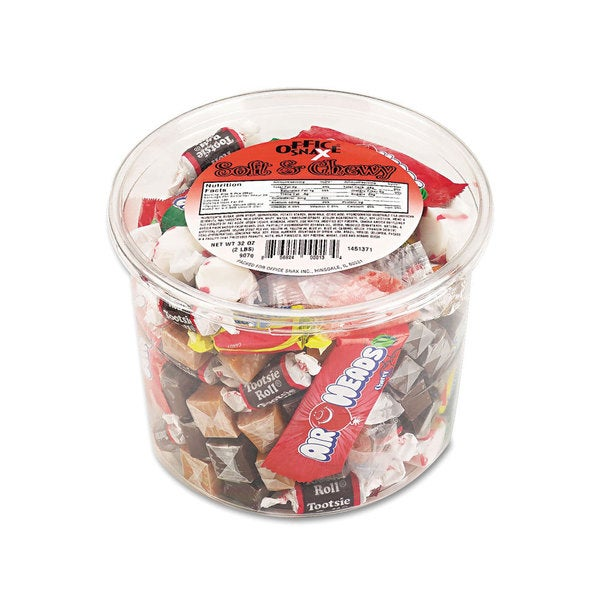 Office Snax Soft & Chewy Assorted Soft Candy Mix 2-pound Plastic Tub (Pack of 2)