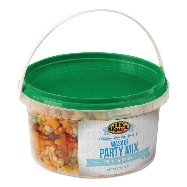 Office Snax All Tyme Favorite Nuts Wasabi Party Mix 9-ounce Tub (Pack of 2)