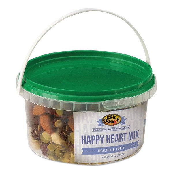 Office Snax All Tyme Favorite Nuts Happy Heart Mix 14-ounce Tub