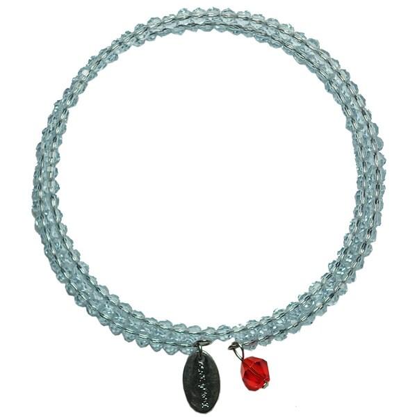 Pink Box Baby Blue Wrap-around Bracelet with Red Charm