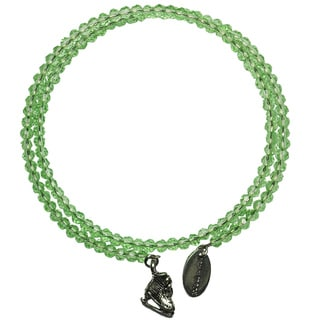 Pink Box Green Apple Wrap-around Bracelet with Ice Skate Charm